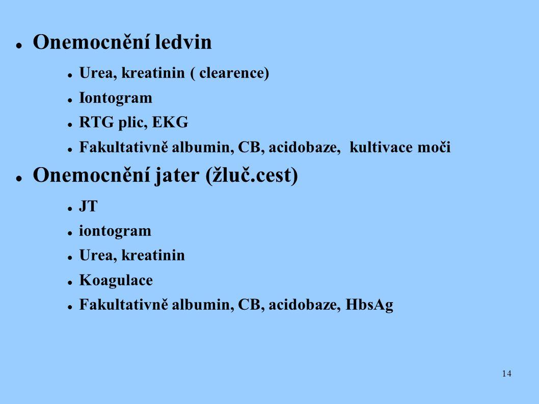 14  Onemocnění ledvin  Urea, kreatinin ( clearence)  Iontogram  RTG plic, EKG  Fakultativně albumin, CB, acidobaze, kultivace moči  Onemocnění