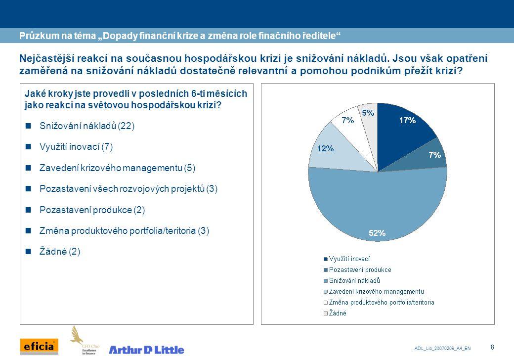 """9 ADL_Lib_20070209_A4_EN Finanční ředitelé očekávají, že se finanční krize během následujících dvou let ještě prohloubí Průzkum na téma """"Dopady finanční krize a změna role finačního ředitele Kdy dosáhne hospodářství v ČR svého dna."""