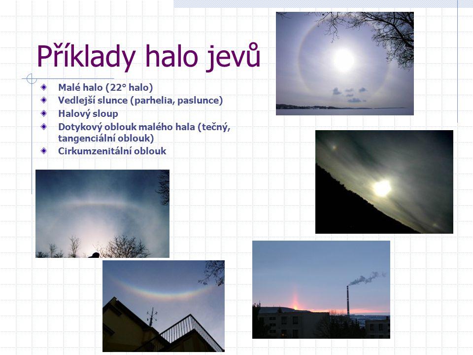 Příklady halo jevů Malé halo (22° halo) Vedlejší slunce (parhelia, paslunce) Halový sloup Dotykový oblouk malého hala (tečný, tangenciální oblouk) Cirkumzenitální oblouk