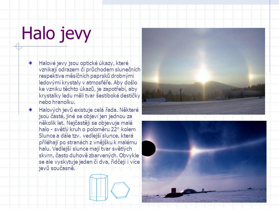 Halo jevy Halové jevy jsou optické úkazy, které vznikají odrazem či průchodem slunečních respektive měsíčních paprsků drobnými ledovými krystaly v atmosféře.