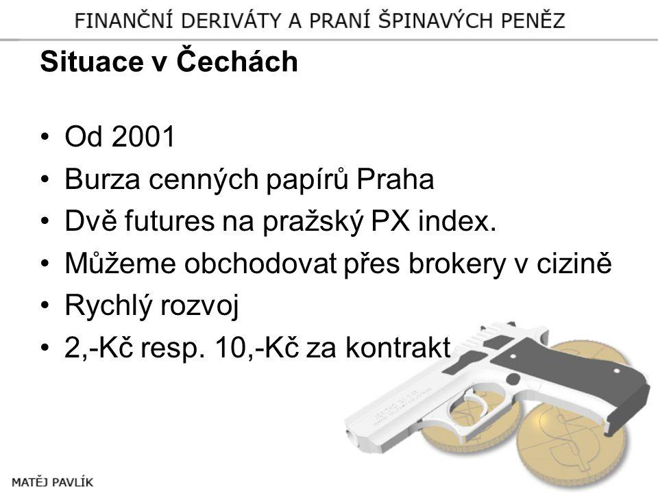 Situace v Čechách •Od 2001 •Burza cenných papírů Praha •Dvě futures na pražský PX index. •Můžeme obchodovat přes brokery v cizině •Rychlý rozvoj •2,-K
