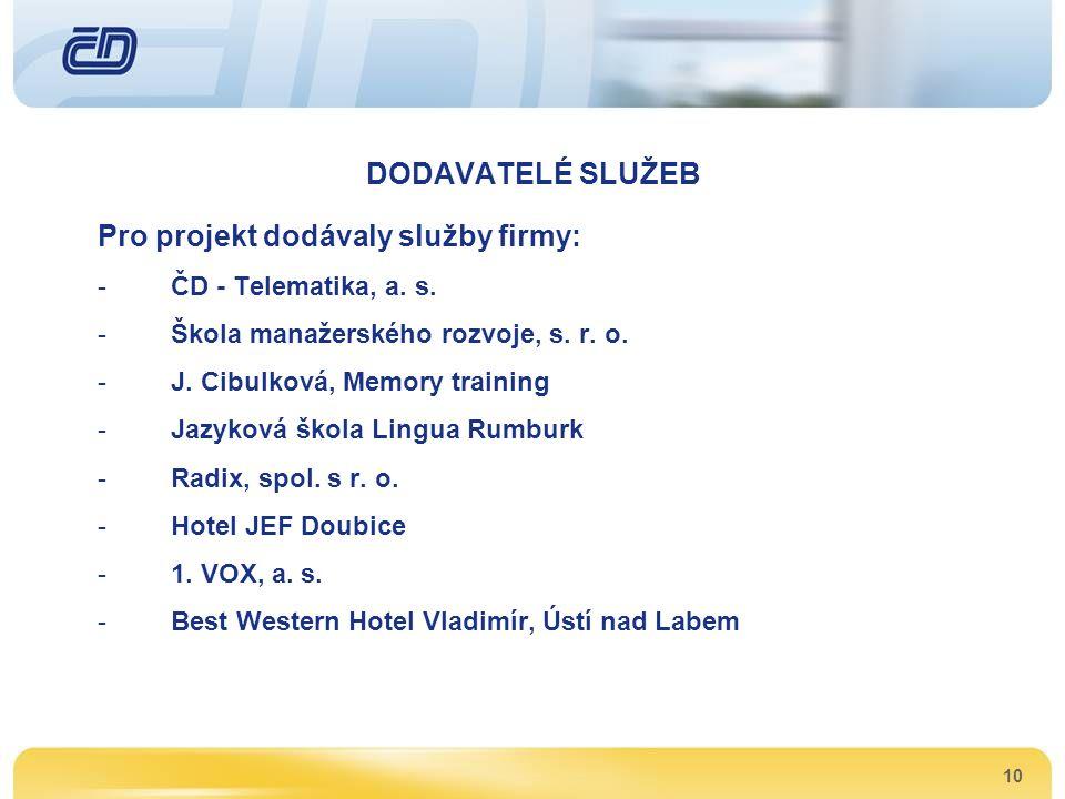 10 DODAVATELÉ SLUŽEB Pro projekt dodávaly služby firmy: -ČD - Telematika, a. s. -Škola manažerského rozvoje, s. r. o. -J. Cibulková, Memory training -