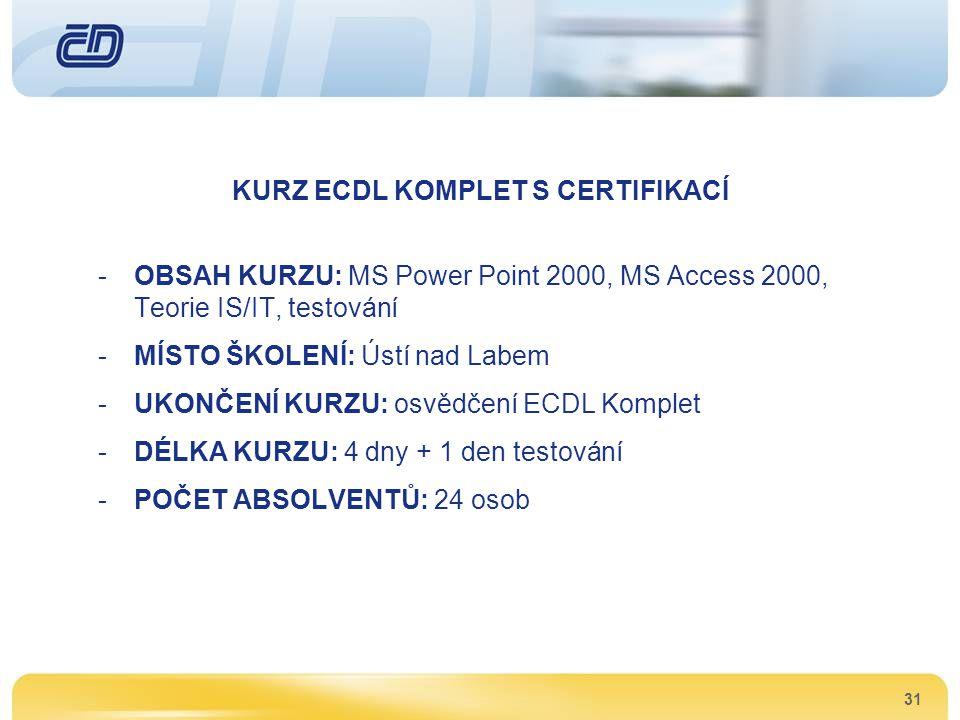 31 KURZ ECDL KOMPLET S CERTIFIKACÍ -OBSAH KURZU: MS Power Point 2000, MS Access 2000, Teorie IS/IT, testování -MÍSTO ŠKOLENÍ: Ústí nad Labem -UKONČENÍ