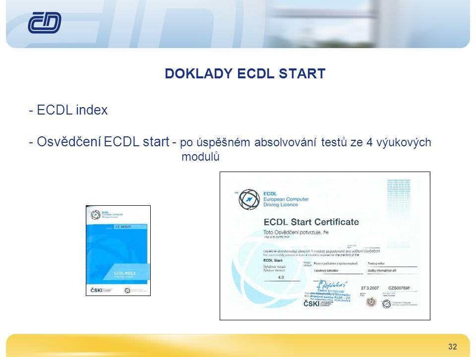32 DOKLADY ECDL START - ECDL index - Osvědčení ECDL start - po úspěšném absolvování testů ze 4 výukových modulů