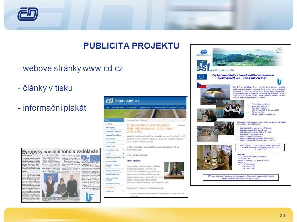 33 PUBLICITA PROJEKTU - webové stránky www.cd.cz - články v tisku - informační plakát