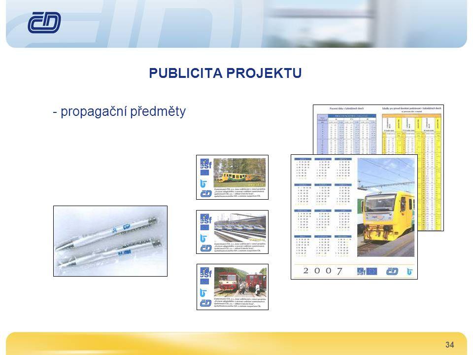 34 PUBLICITA PROJEKTU - propagační předměty