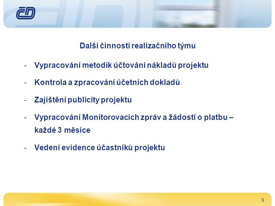 5 Další činnosti realizačního týmu -Vypracování metodik účtování nákladů projektu -Kontrola a zpracování účetních dokladů -Zajištění publicity projekt