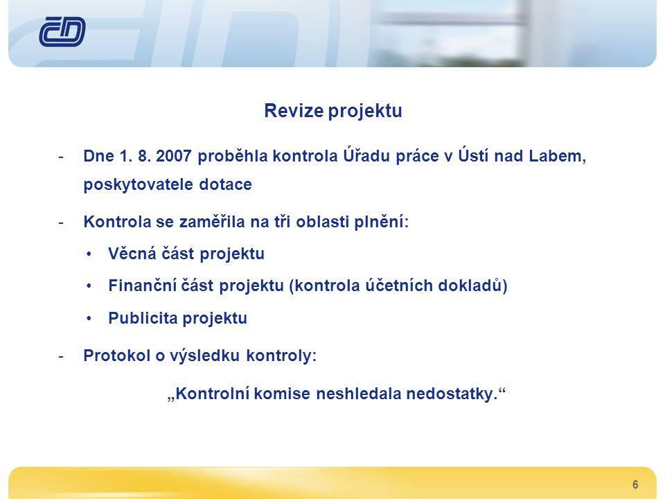6 Revize projektu -Dne 1. 8. 2007 proběhla kontrola Úřadu práce v Ústí nad Labem, poskytovatele dotace -Kontrola se zaměřila na tři oblasti plnění: •V