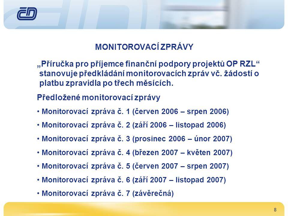 """8 MONITOROVACÍ ZPRÁVY """"Příručka pro příjemce finanční podpory projektů OP RZL"""" stanovuje předkládání monitorovacích zpráv vč. žádostí o platbu zpravid"""