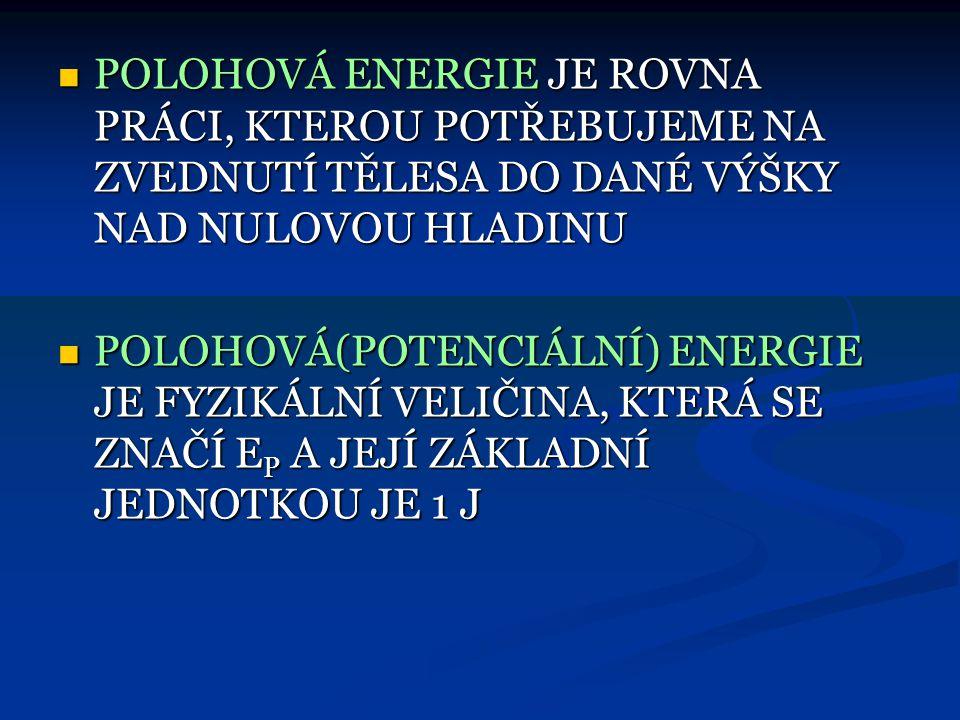 POLOHOVÁ ENERGIE  POLOHOVOU ENERGII MÁ KAŽDÉ TĚLESO, KTERÉ JE V NĚJAKÉ VÝŠCE  PROTO JE NUTNÉ VŽDY VZTAHOVAT K NĚJAKÉMU MÍSTU, ABY BYLO MOŽNO URČIT D