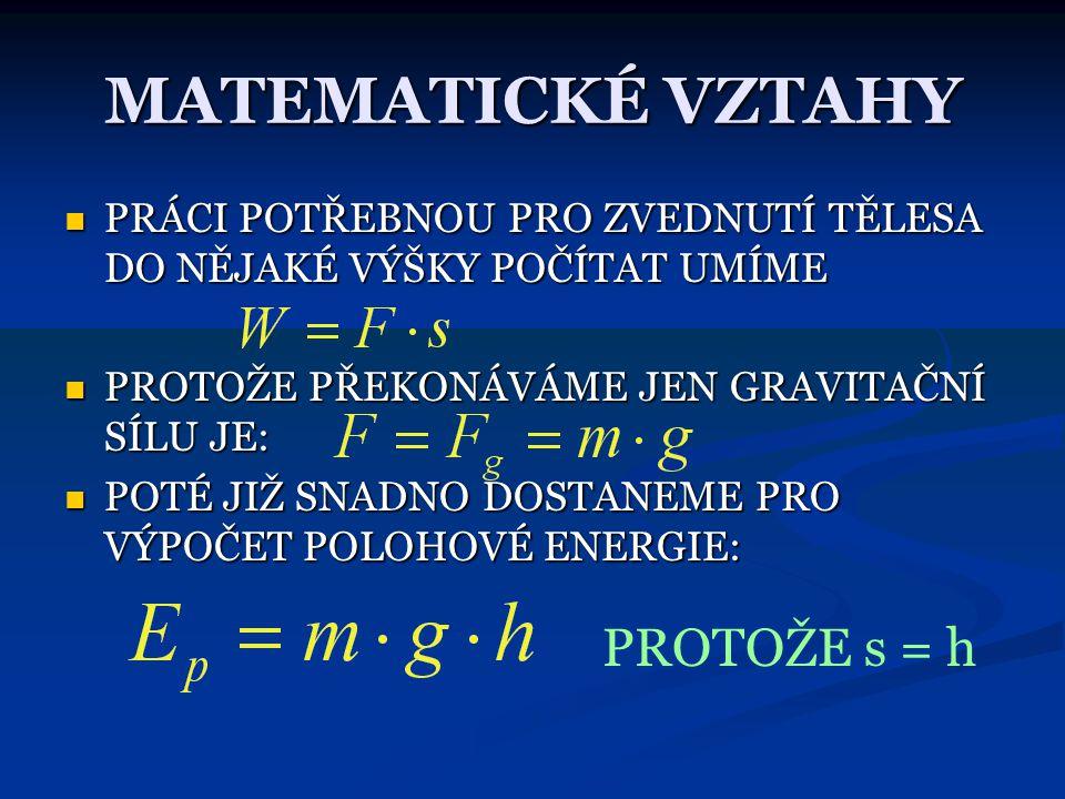 DEMONSTRAČNÍ OBR. E P = 0 J, h = 0 m h E P  0 J, h  0 m