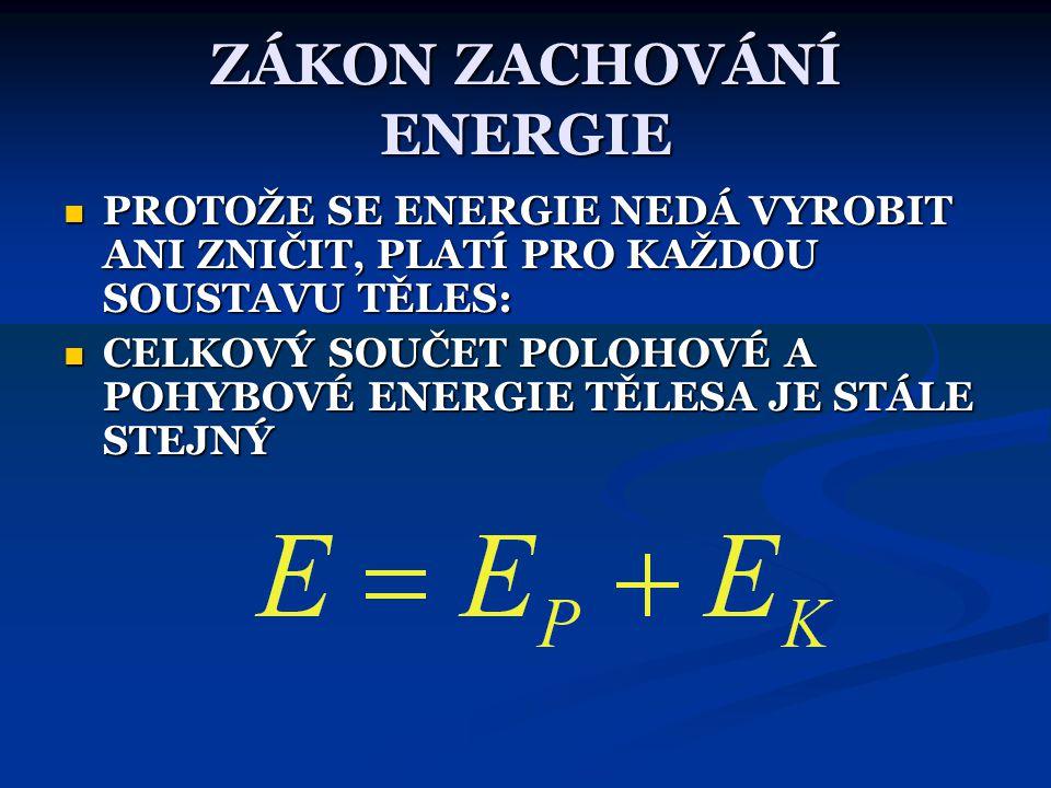 v je maximální a h je nulová h je maximální a v je nulová MAXIMÁLNÍ VÝŠKA ZNAMENÁ MAXIMÁLNÍ E P MAXIMÁLNÍ RYCHLOST ZNAMENÁ MAXIMÁLNÍ E K NULOVÁ HLADIN