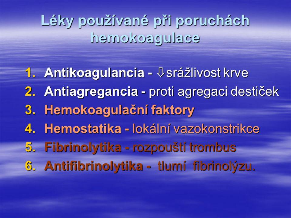 Léky používané při poruchách hemokoagulace 1.Antikoagulancia -  srážlivost krve 2.Antiagregancia - proti agregaci destiček 3.Hemokoagulační faktory 4.Hemostatika - lokální vazokonstrikce 5.Fibrinolytika - rozpouští trombus 6.Antifibrinolytika - tlumí fibrinolýzu.