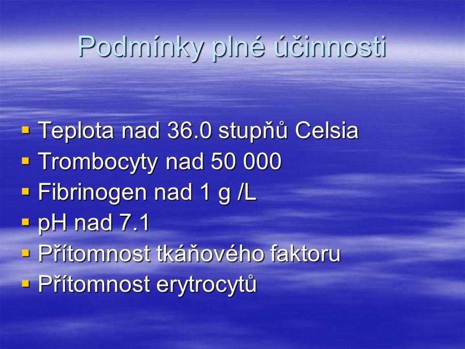 Podmínky plné účinnosti  Teplota nad 36.0 stupňů Celsia  Trombocyty nad 50 000  Fibrinogen nad 1 g /L  pH nad 7.1  Přítomnost tkáňového faktoru 