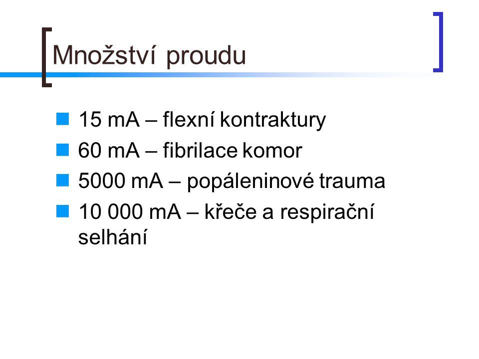 Množství proudu  15 mA – flexní kontraktury  60 mA – fibrilace komor  5000 mA – popáleninové trauma  10 000 mA – křeče a respirační selhání