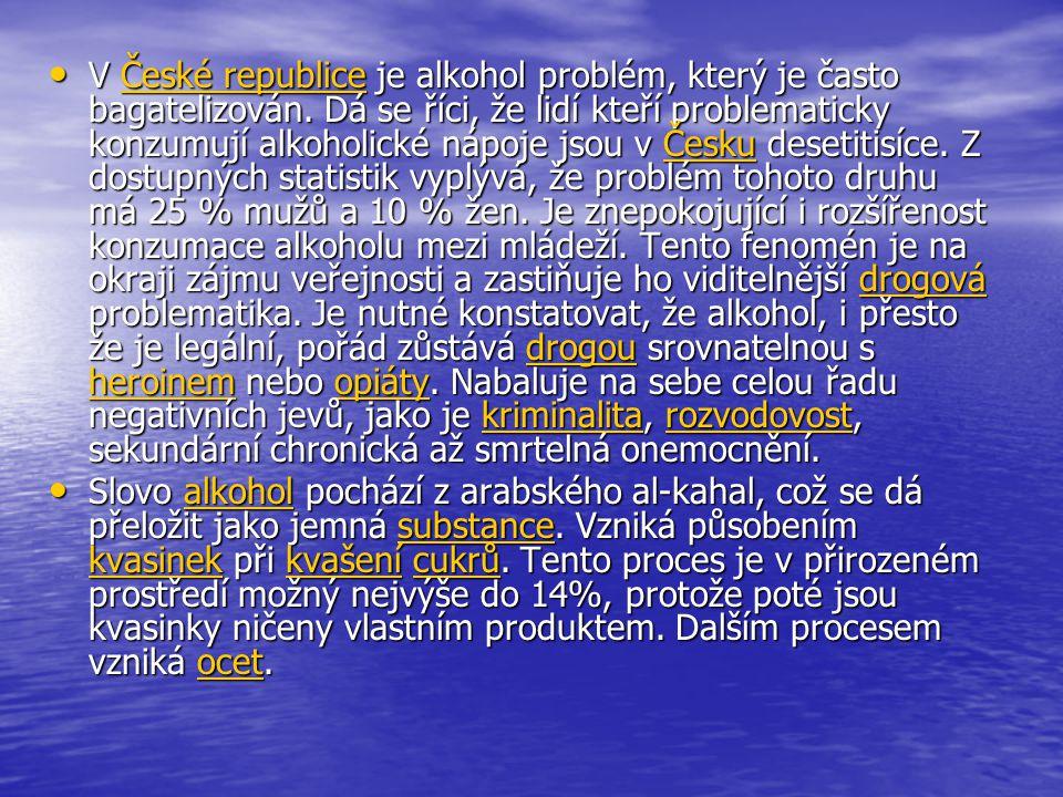 • V České republice je alkohol problém, který je často bagatelizován.