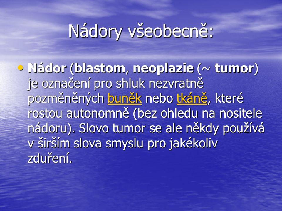 Nádory všeobecně: • Nádor (blastom, neoplazie (~ tumor) je označení pro shluk nezvratně pozměněných buněk nebo tkáně, které rostou autonomně (bez ohledu na nositele nádoru).