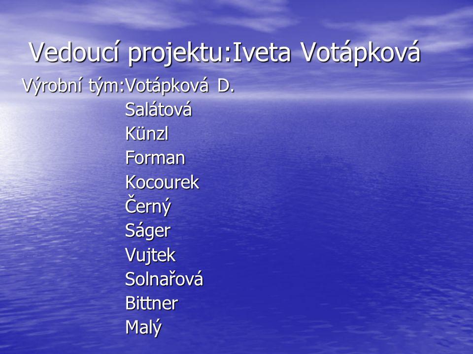 Vedoucí projektu:Iveta Votápková Výrobní tým:Votápková D.