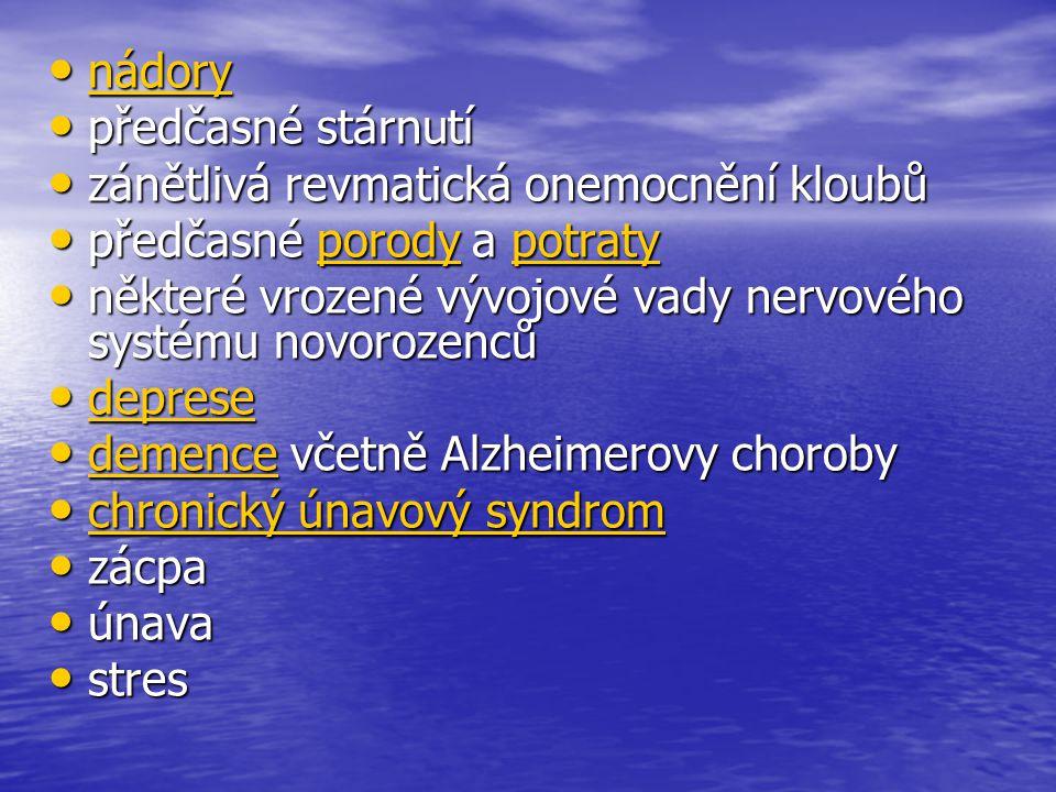 • nádory nádory • předčasné stárnutí • zánětlivá revmatická onemocnění kloubů • předčasné porody a potraty porodypotratyporodypotraty • některé vrozené vývojové vady nervového systému novorozenců • deprese deprese • demence včetně Alzheimerovy choroby demence • chronický únavový syndrom chronický únavový syndrom chronický únavový syndrom • zácpa • únava • stres