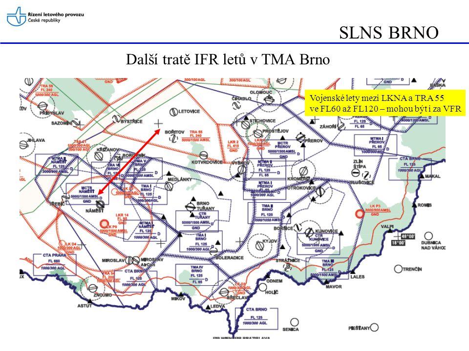 SLNS BRNO Další tratě IFR letů v TMA Brno Vojenské lety mezi LKNA a TRA 55 ve FL60 až FL120 – mohou být i za VFR