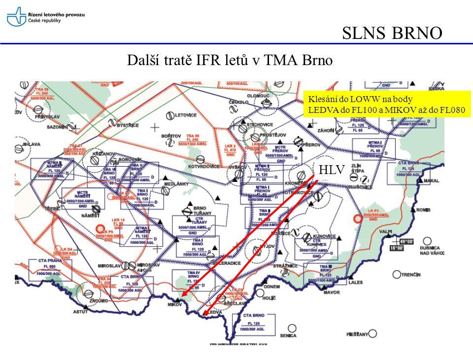 SLNS BRNO Další tratě IFR letů v TMA Brno Klesání do LOWW na body LEDVA do FL100 a MIKOV až do FL080 HLV