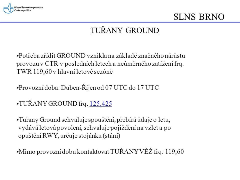 SLNS BRNO TUŘANY GROUND •Potřeba zřídit GROUND vznikla na základě značného nárůstu provozu v CTR v posledních letech a neúměrného zatížení frq. TWR 11