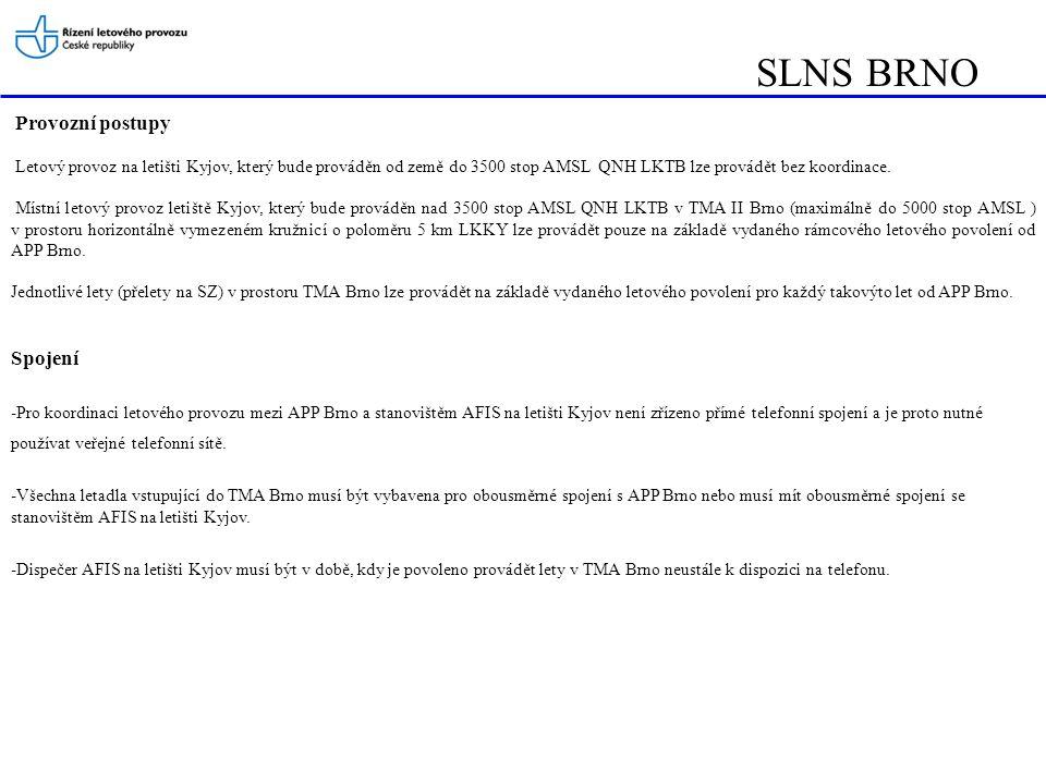 SLNS BRNO Provozní postupy Letový provoz na letišti Kyjov, který bude prováděn od země do 3500 stop AMSL QNH LKTB lze provádět bez koordinace. Místní