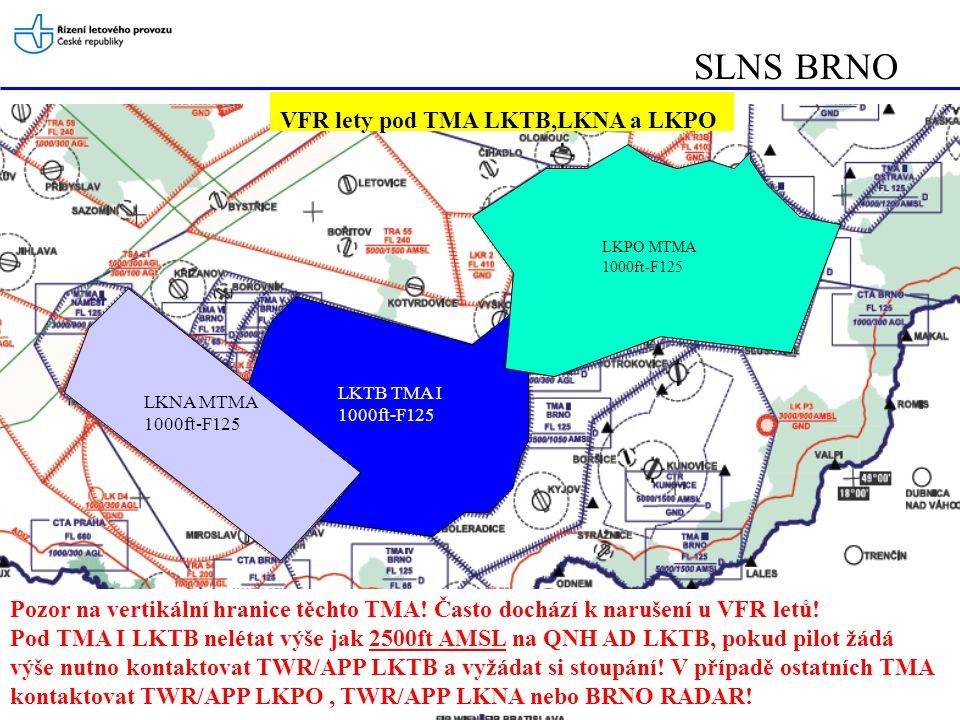 SLNS BRNO LKNA MTMA 1000ft-F125 LKTB TMA I 1000ft-F125 LKPO MTMA 1000ft-F125 Pozor na vertikální hranice těchto TMA! Často dochází k narušení u VFR le