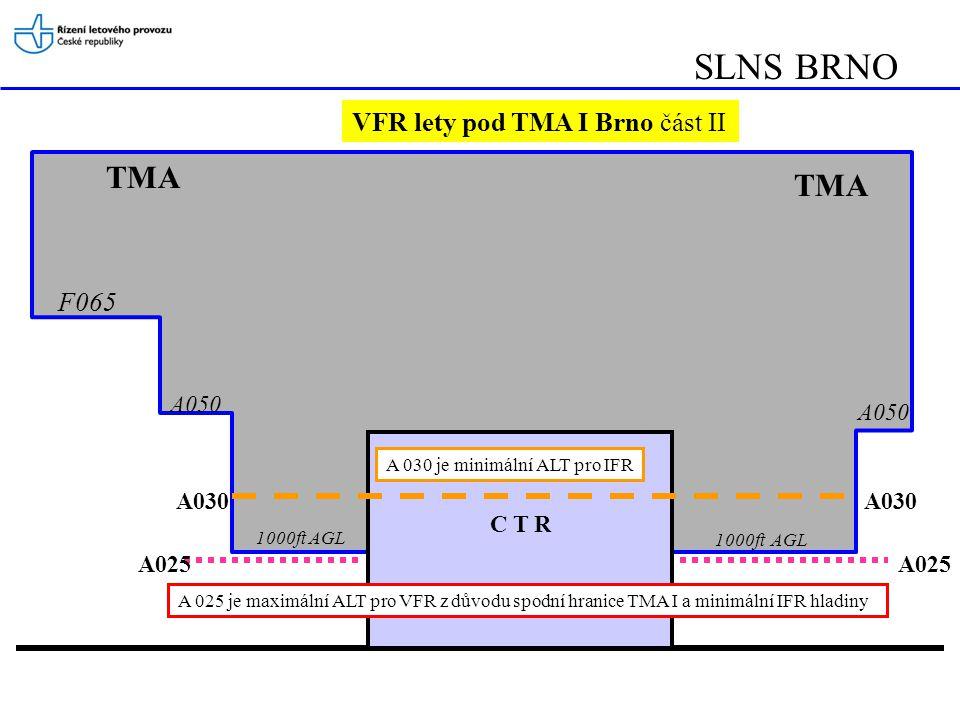 SLNS BRNO TMA C T R A 030 je minimální ALT pro IFR A 025 je maximální ALT pro VFR z důvodu spodní hranice TMA I a minimální IFR hladiny A025 A030 A025