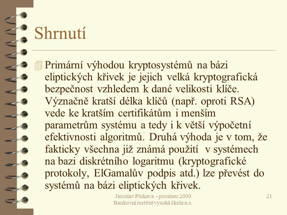 Jaroslav Pinkava - prosinec 2000 Bankovní institut vysoká škola a.s. 21 Shrnutí 4 Primární výhodou kryptosystémů na bázi eliptických křivek je jejich
