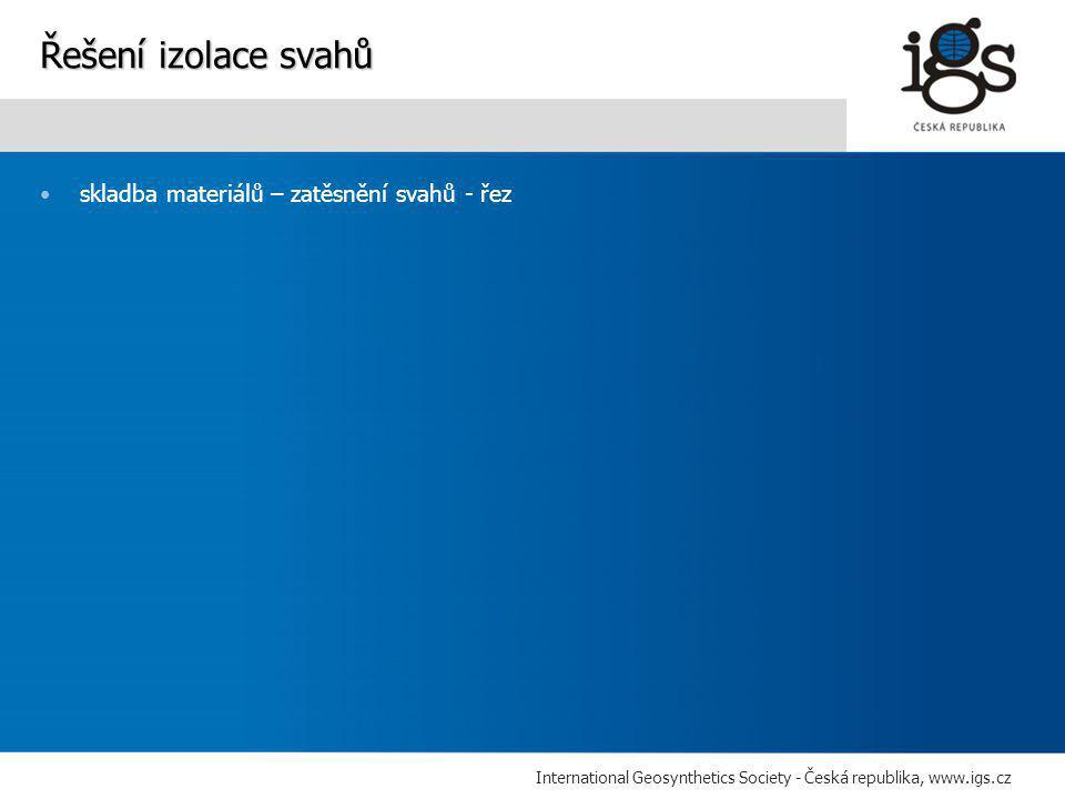 International Geosynthetics Society - Česká republika, www.igs.cz •skladba materiálů – zatěsnění svahů - řez Řešení izolace svahů