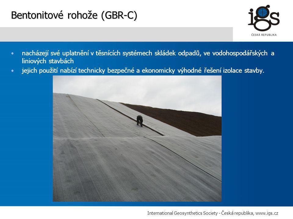 International Geosynthetics Society - Česká republika, www.igs.cz •nacházejí své uplatnění v těsnících systémech skládek odpadů, ve vodohospodářských a liniových stavbách •jejich použití nabízí technicky bezpečné a ekonomicky výhodné řešení izolace stavby.