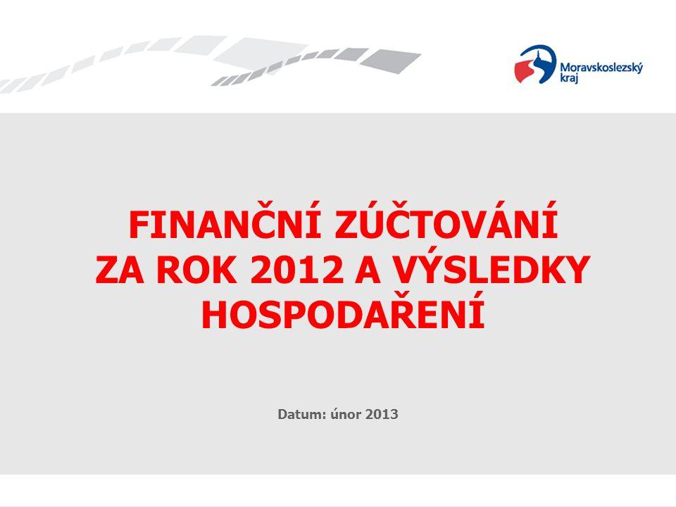 FINANČNÍ ZÚČTOVÁNÍ A HV 2012 FINANČNÍ ZÚČTOVÁNÍ ZA ROK 2012 A VÝSLEDKY HOSPODAŘENÍ Datum: únor 2013