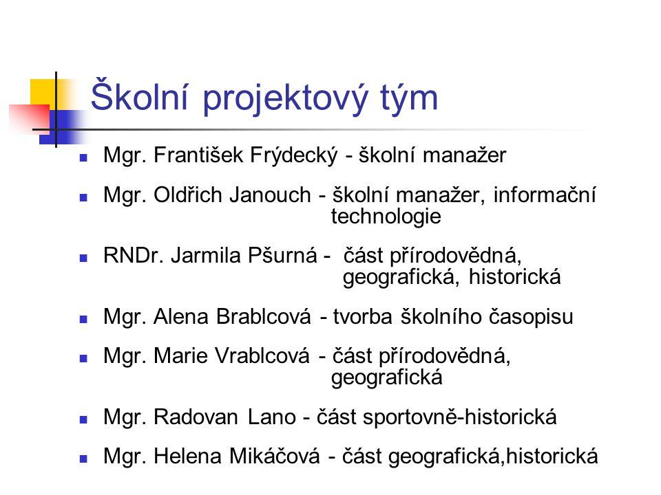 Školní projektový tým  Mgr. František Frýdecký - školní manažer  Mgr. Oldřich Janouch - školní manažer, informační technologie  RNDr. Jarmila Pšurn