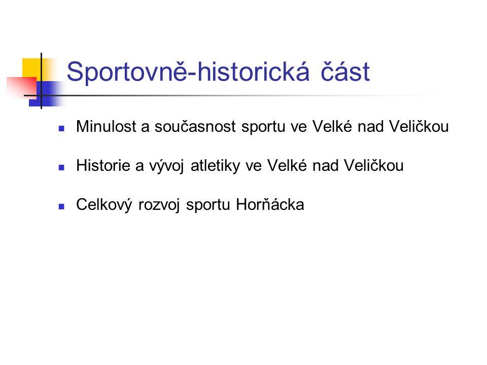 Sportovně-historická část  Minulost a současnost sportu ve Velké nad Veličkou  Historie a vývoj atletiky ve Velké nad Veličkou  Celkový rozvoj sportu Horňácka