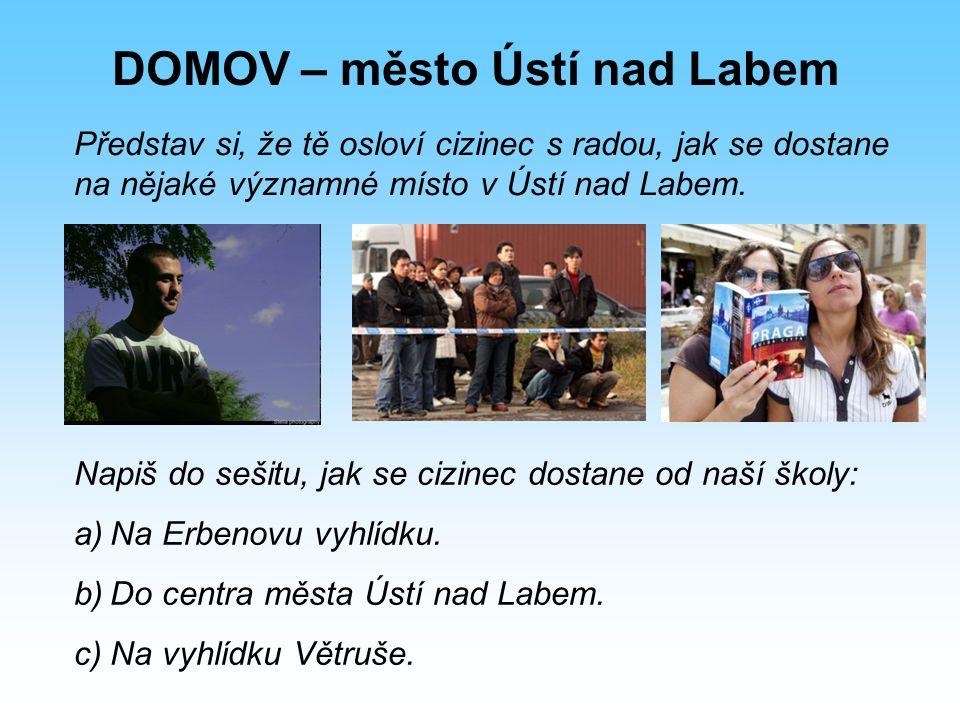 DOMOV – město Ústí nad Labem 2) Zakresli tři uvedené trasy do mapy města.