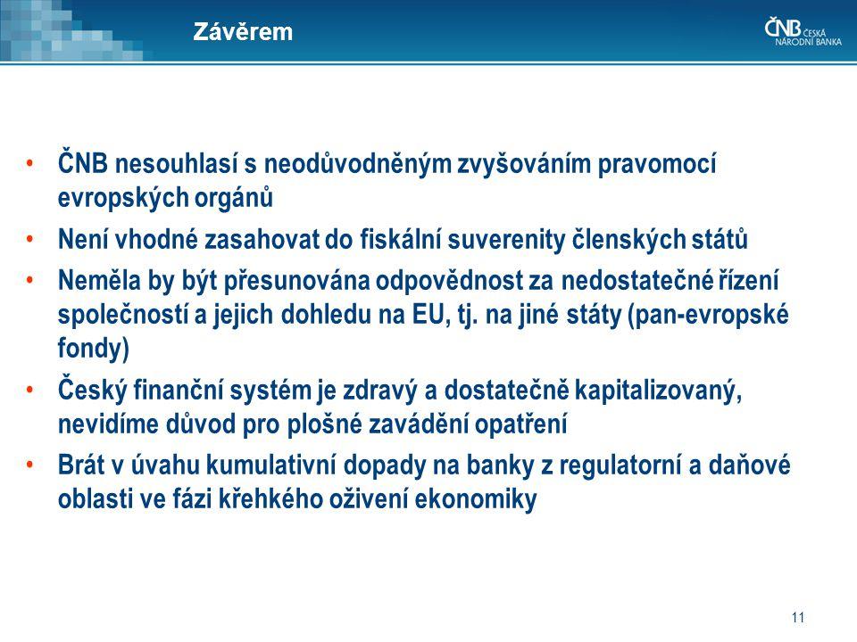 11 Závěrem • ČNB nesouhlasí s neodůvodněným zvyšováním pravomocí evropských orgánů • Není vhodné zasahovat do fiskální suverenity členských států • Neměla by být přesunována odpovědnost za nedostatečné řízení společností a jejich dohledu na EU, tj.