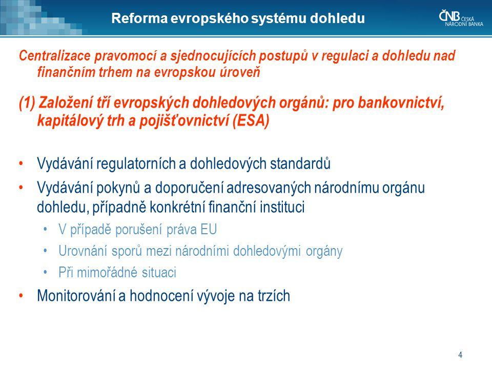 4 Reforma evropského systému dohledu (1) Založení tří evropských dohledových orgánů: pro bankovnictví, kapitálový trh a pojišťovnictví (ESA) •Vydávání regulatorních a dohledových standardů •Vydávání pokynů a doporučení adresovaných národnímu orgánu dohledu, případně konkrétní finanční instituci •V případě porušení práva EU •Urovnání sporů mezi národními dohledovými orgány •Při mimořádné situaci •Monitorování a hodnocení vývoje na trzích Centralizace pravomocí a sjednocujících postupů v regulaci a dohledu nad finančním trhem na evropskou úroveň