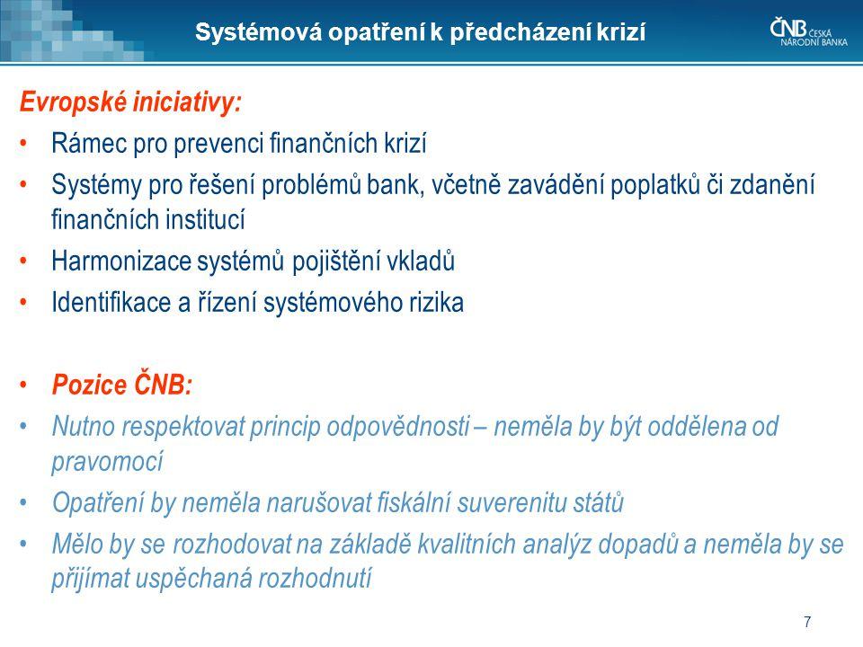 7 Systémová opatření k předcházení krizí Evropské iniciativy: •Rámec pro prevenci finančních krizí •Systémy pro řešení problémů bank, včetně zavádění