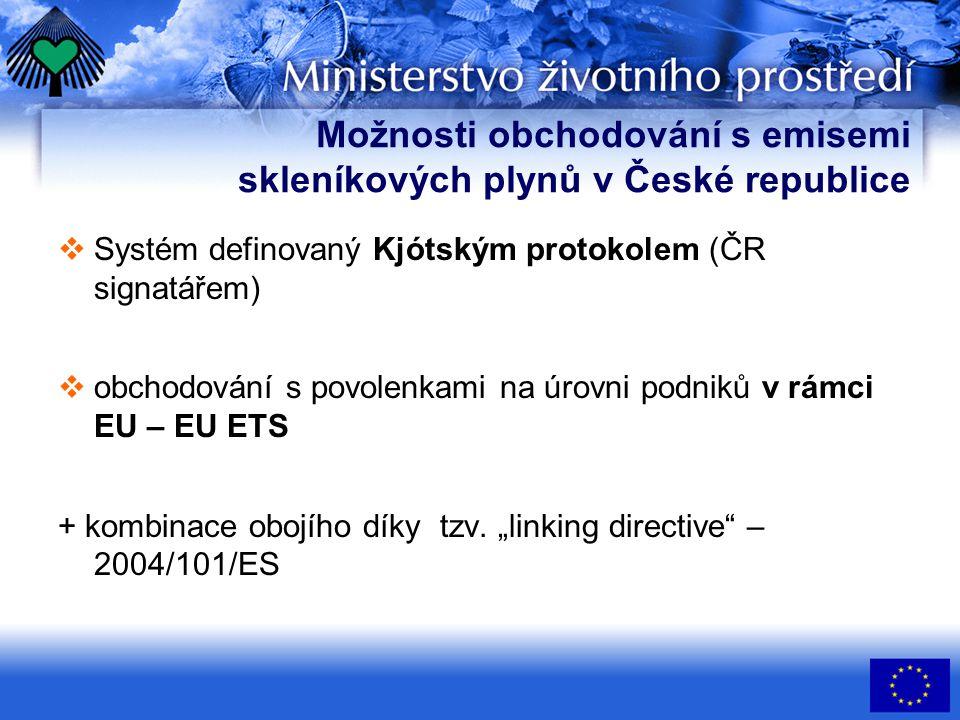 Možnosti obchodování s emisemi skleníkových plynů v České republice  Systém definovaný Kjótským protokolem (ČR signatářem)  obchodování s povolenkami na úrovni podniků v rámci EU – EU ETS + kombinace obojího díky tzv.