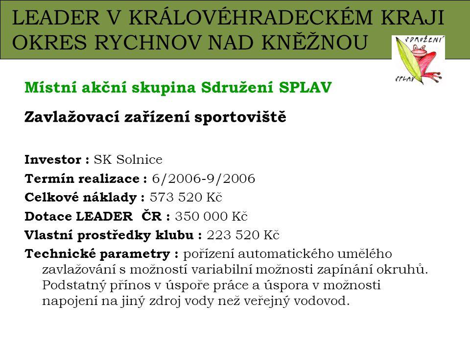 Zavlažování hřiště – SK Solnice