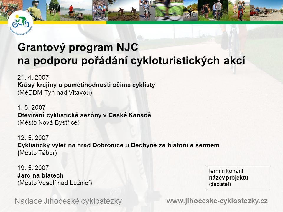 www.jihoceske-cyklostezky.cz Nadace Jihočeské cyklostezky Grantový program NJC na podporu pořádání cykloturistických akcí 21.