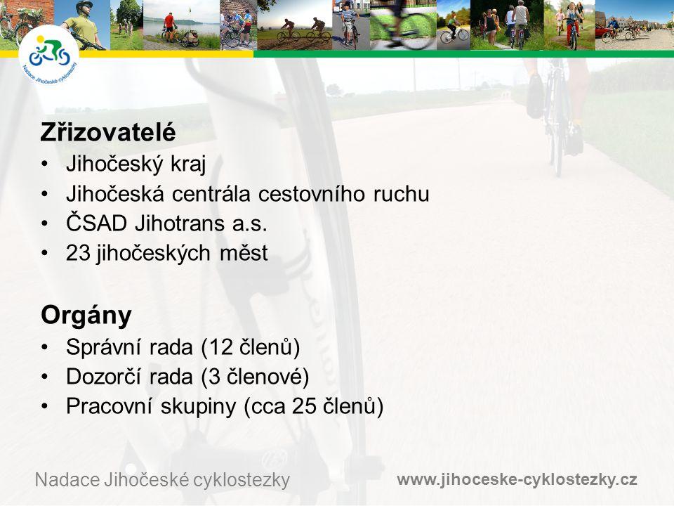 www.jihoceske-cyklostezky.cz Nadace Jihočeské cyklostezky Zřizovatelé •Jihočeský kraj •Jihočeská centrála cestovního ruchu •ČSAD Jihotrans a.s.