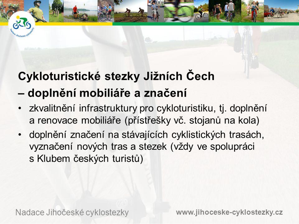 www.jihoceske-cyklostezky.cz Nadace Jihočeské cyklostezky Cykloturistické stezky Jižních Čech – doplnění mobiliáře a značení •zkvalitnění infrastruktury pro cykloturistiku, tj.