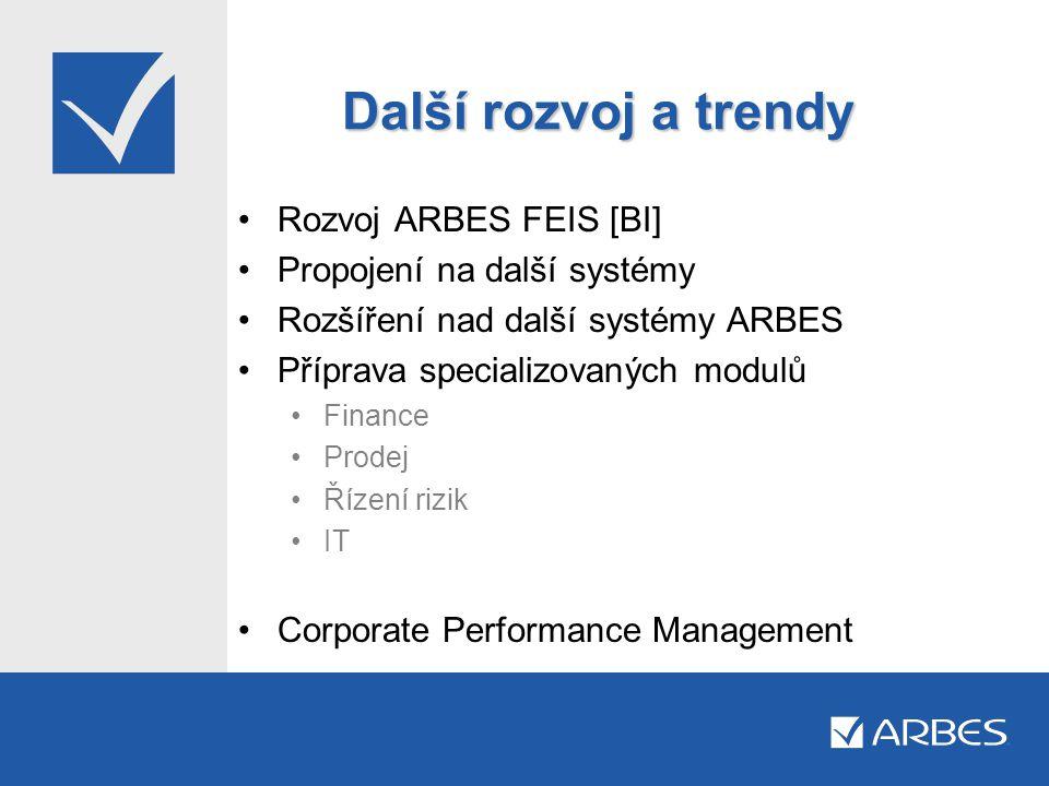 Další rozvoj a trendy •Rozvoj ARBES FEIS [BI] •Propojení na další systémy •Rozšíření nad další systémy ARBES •Příprava specializovaných modulů •Financ