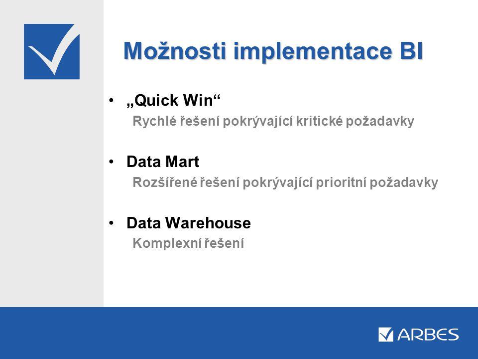 """Možnosti implementace BI •""""Quick Win"""" Rychlé řešení pokrývající kritické požadavky •Data Mart Rozšířené řešení pokrývající prioritní požadavky •Data W"""