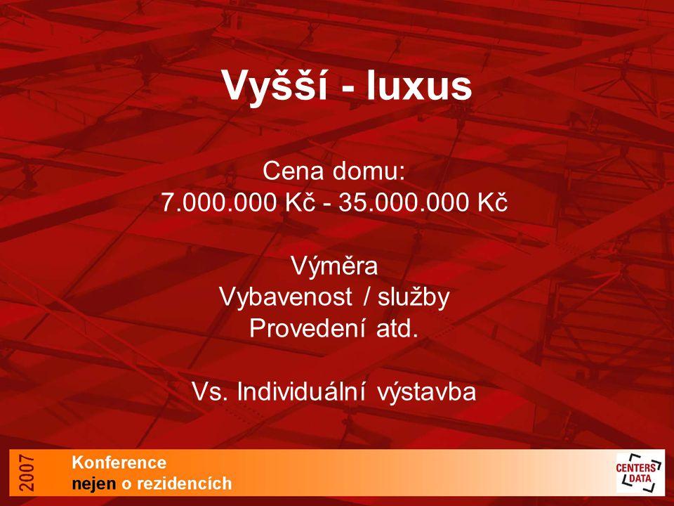 Vyšší - luxus Cena domu: 7.000.000 Kč - 35.000.000 Kč Výměra Vybavenost / služby Provedení atd.