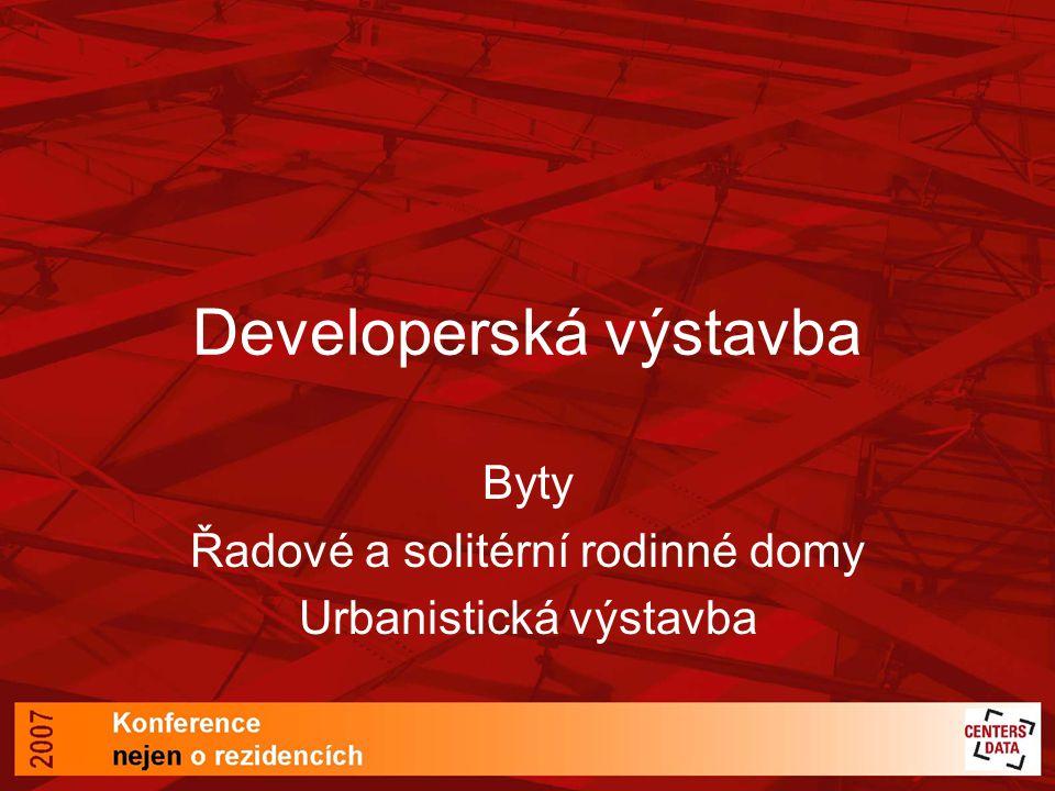 Developerská výstavba Byty Řadové a solitérní rodinné domy Urbanistická výstavba