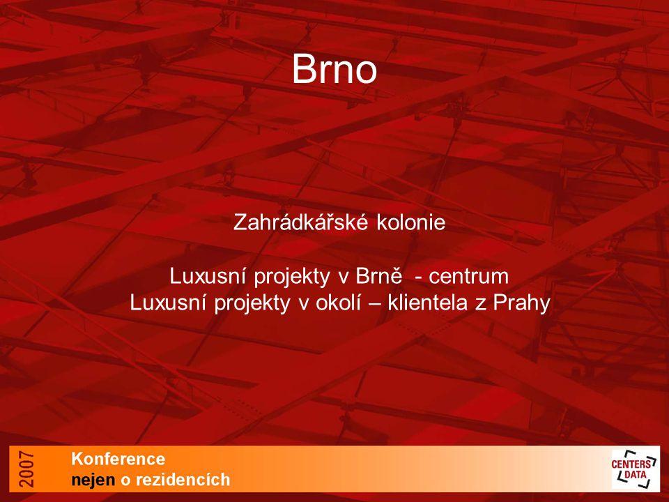 Brno Zahrádkářské kolonie Luxusní projekty v Brně - centrum Luxusní projekty v okolí – klientela z Prahy