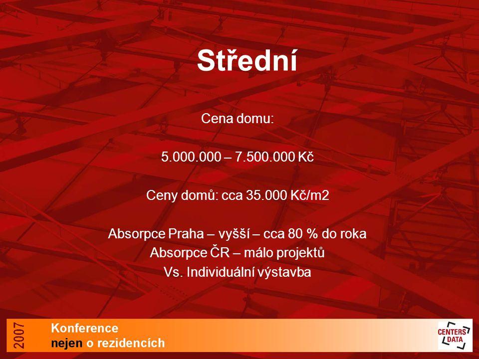 Střední Cena domu: 5.000.000 – 7.500.000 Kč Ceny domů: cca 35.000 Kč/m2 Absorpce Praha – vyšší – cca 80 % do roka Absorpce ČR – málo projektů Vs.